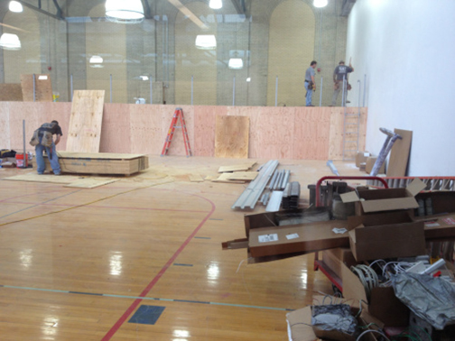 Some parts of the Hutch Gym renovations – like the gymnastics room – are still under construction.