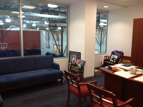 A look from the inside of head coach Jerome Allen's new office.