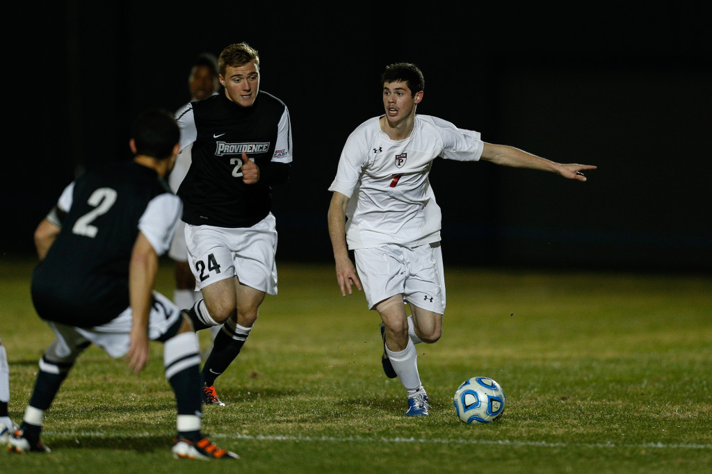 Poplawski started eight games for the men's soccer team in the fall, including this one against Providence in the NCAA tournament.