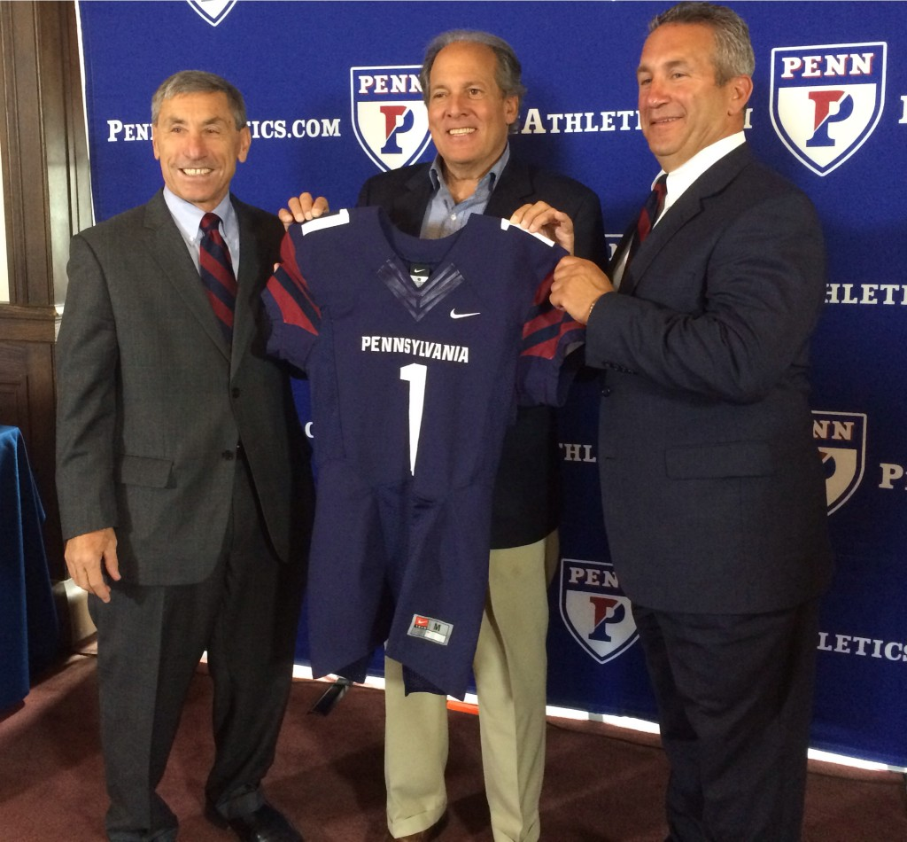 Steve Bilsky, center, announced the retirement of Al Bagnoli, left, and the hiring of Ray Priore, right, at a press conference Wednesday.