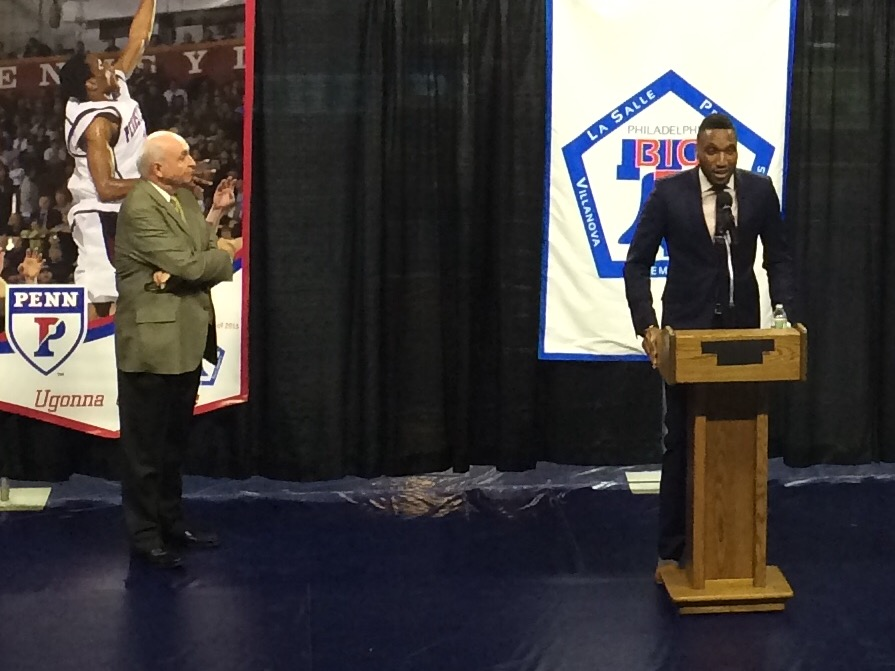 Ugonna Onyekwe gives his speech during Monday's Big 5 Hall of Fame indcution.