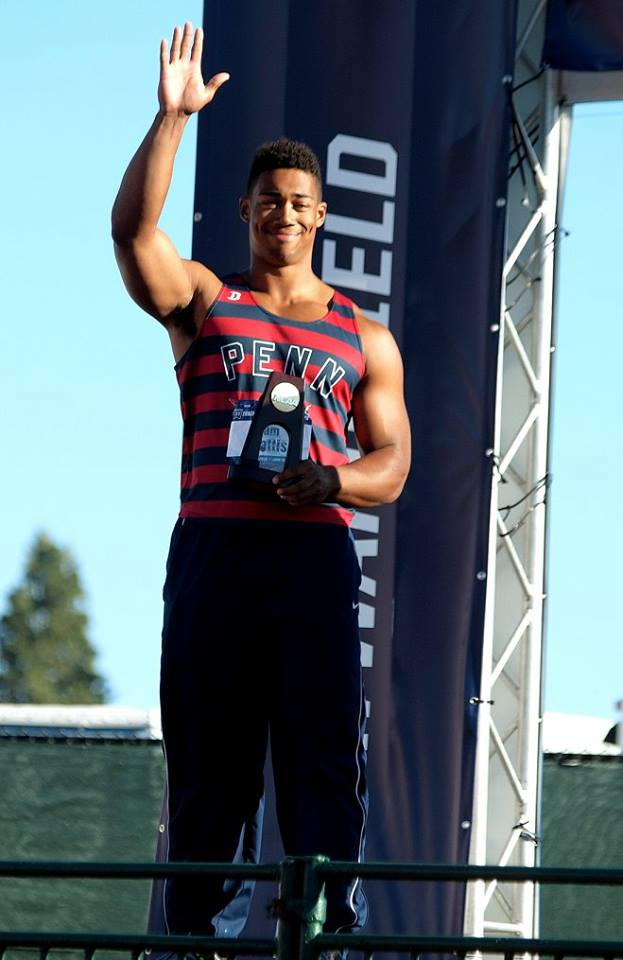 Mattis on the medal stand after winning the NCAA discus title