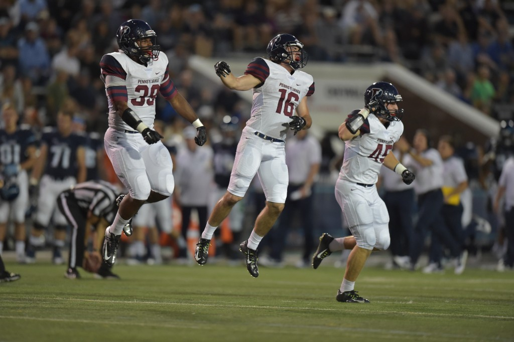 There was a lot to celebrate for the Quakers during their dominating performance at Villanova Stadium (Penn Athletics).