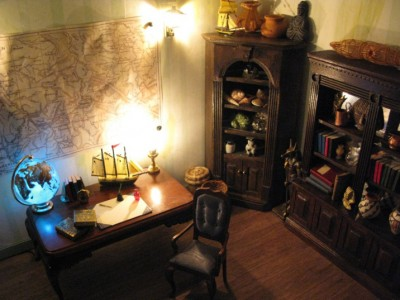 Jules Verne's office interior, with lighting