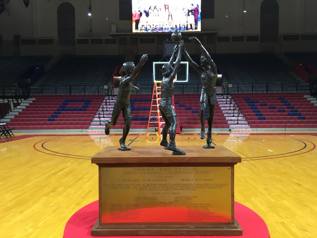 The Ivy League championship trophy at center court of the Palestra.