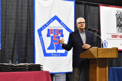 Dave Wohl gives a speech during the Big 5 Hall of Fame induction ceremony at the Palestra.