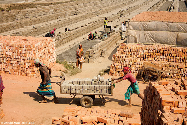 Brickmaking in the Savar district, west of Dhaka.