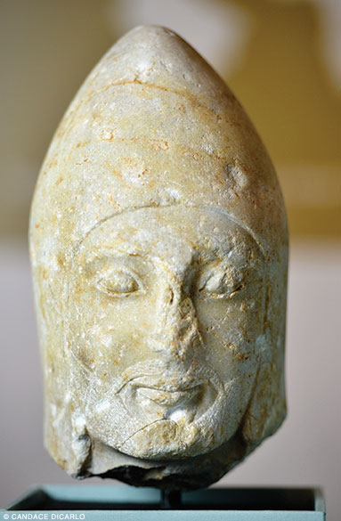 Marble Persian head with tiara (symbol of power and sovereignty), late sixth-early fifth century BCE.