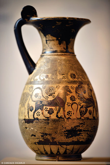 "Ceramic wine pitcher, 620-590 BCE, from the Mediterranean islands, representative of the ""Orientalizing"" style of Greek pottery."