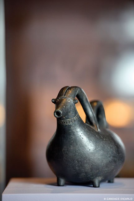 Black polished goat jug, 770-760 BCE, one of several animal-shaped ceramic vessels found in Tumulus P at Gordion.