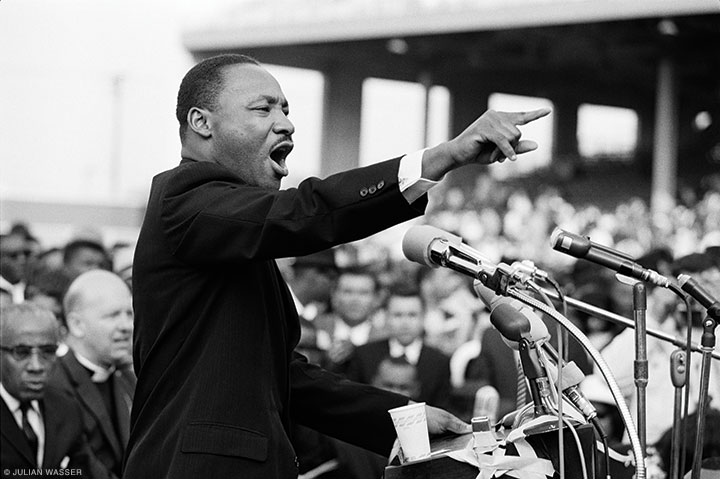 Martin Luther King speaking in Los Angeles. The photo, one of President Obama's two favorites, hangs in the White House (1963, Time).