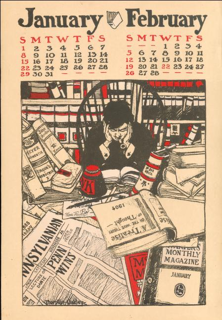 Calendar of the University of Pennsylvania, 1905, illustrated by Thornton Oakley. (Image used courtesy of the University of Pennsylvania Archives)