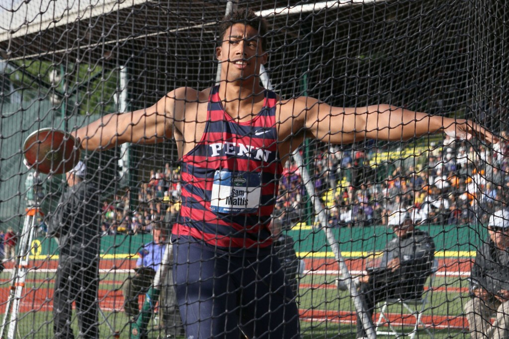 Sam Mattis competes in the men's discus final at the NCAA Championships.