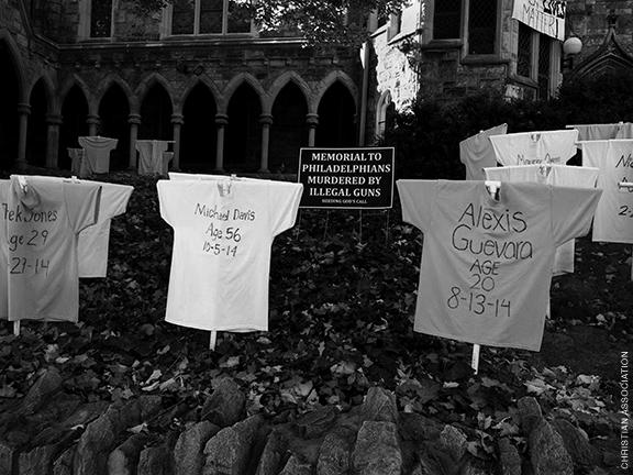 Memorial display commemorating Philadelphians killed by illegal guns.