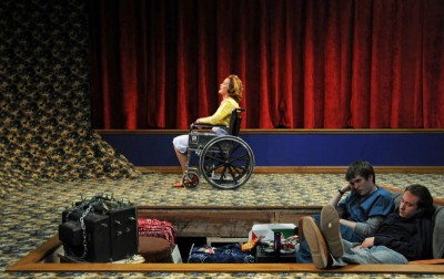A scene from Bernfield's play, Stretch (a fantasia), produced by New Georges in 2008. (Photo by Jim Baldassare.)