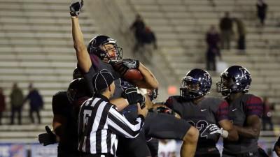Justin Watson catches the winning pass vs. Harvard (photo by Hunter Martin/Penn Athletics).