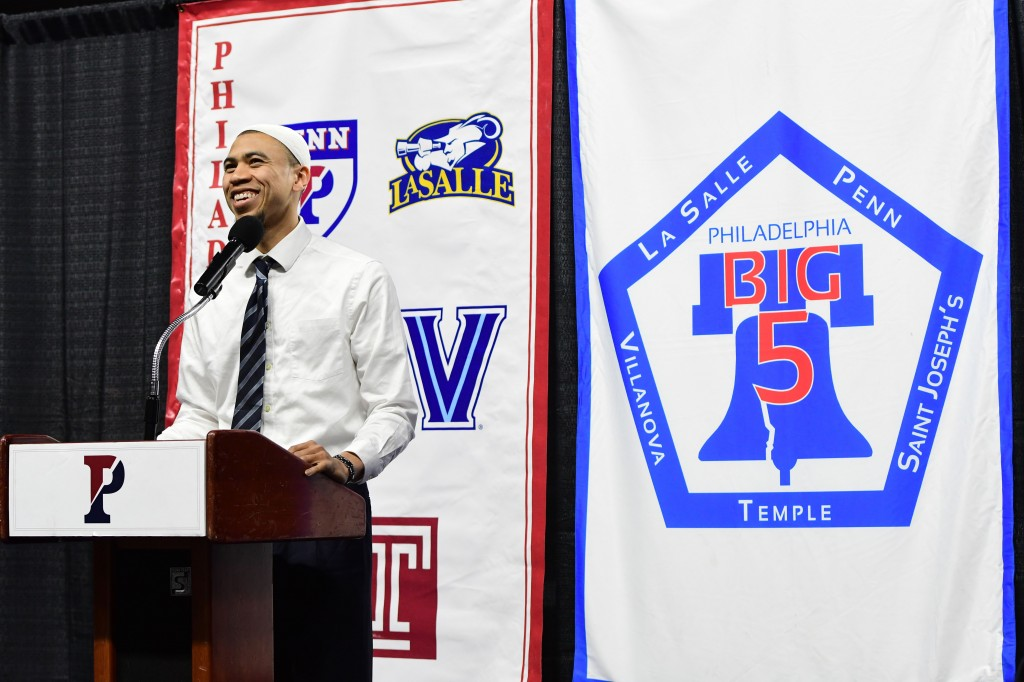 Jaaber is all smiles during his memorable speech (Greg Carroccio/Sideline Photos)