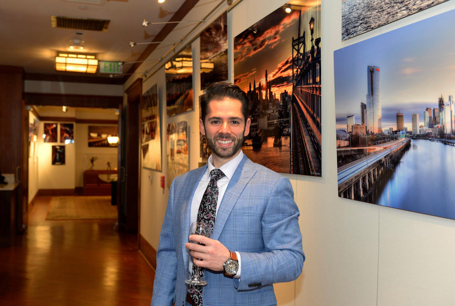 Mark Ayzenberg C'09 at the opening for Burrison Gallery exhibition.