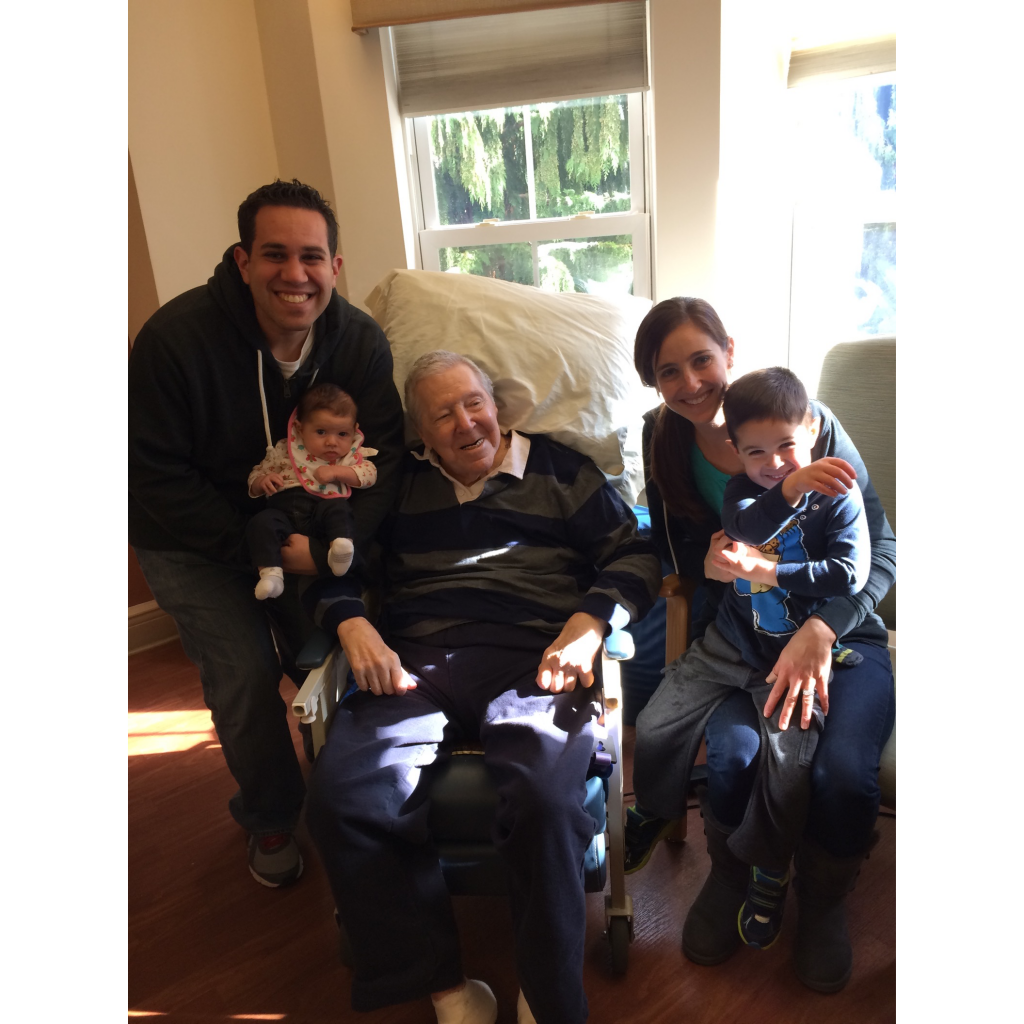 Before he died, Dan Windheim with Justin, Justin's wife Jamie, and his great-grandchildren Matthew and Emily.
