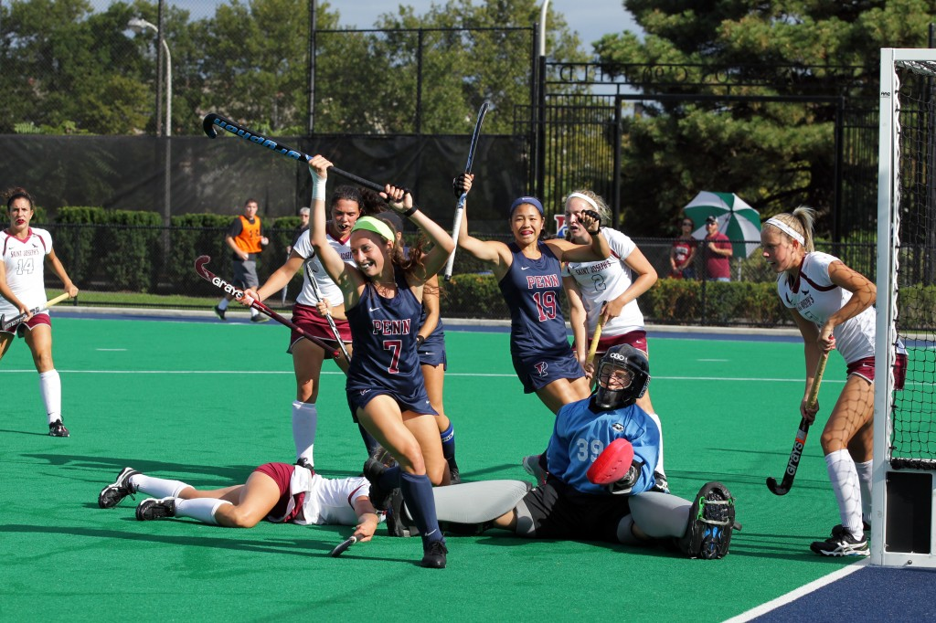 Alexa Hoover celebrates one of her 23 goals this season. No other Penn player has ever scored more than 20.