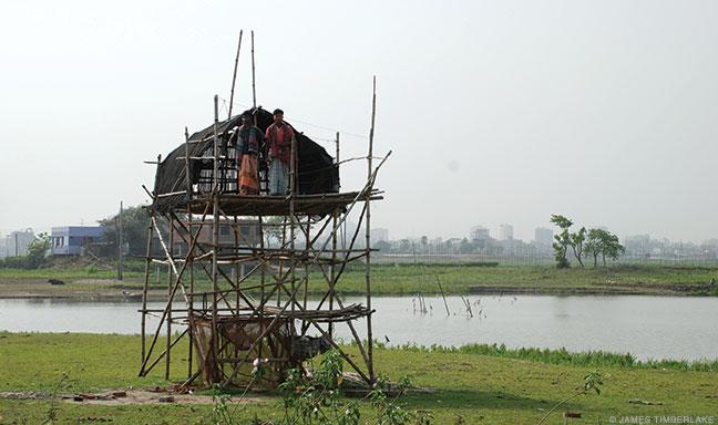 Dwelling platform on Dhaka's outskirts, elevated to avoid regular flooding.