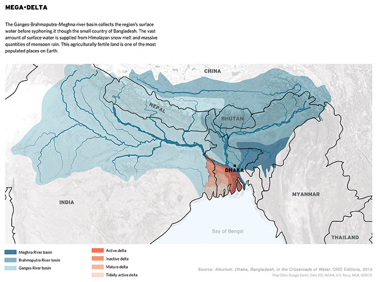 Mega-Delta: The Ganges-Brahmaputra-Meghna river basin collects the re-gion's surface water before siphoning it through the small country of Bangla-desh. The vast amount of surface water is supplied from Himalayan snow melt and massive quantities of monsoon rain. This agriculturally fertile land is one of the most populated places on Earth.