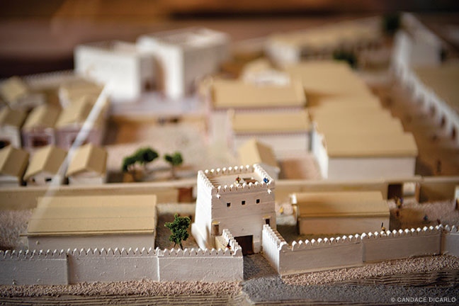 A model shows what the eastern part of the Early Phrygian (pre-Midas) citadel at Gordion might have looked like before a destructive fire in 800 BCE.