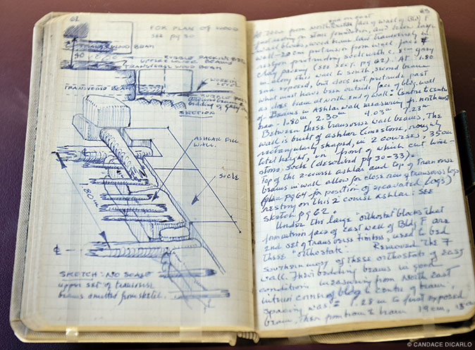 Every archaeological supervisor at Gordion has kept excavation-trench diaries; there are more than 200 in all. These pages, written on April 30, 1961, document excavations of the Citadel Mound, including a sketch of one of the buildings being uncovered.