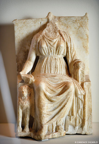 Marble statuette of seated Cybele (the Mother Goddess), late third-early second century BCE, probably from a domestic shrine, found in a private house in Gordion.