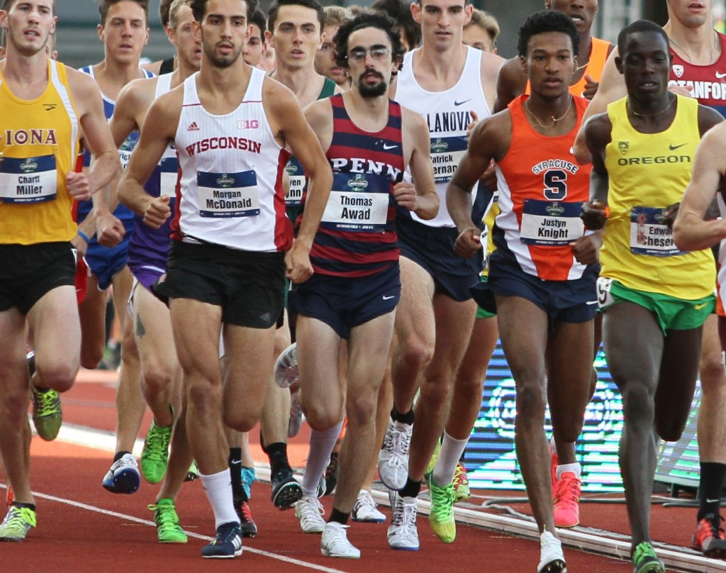 Awad in the middle of the 5K at the NCAA Championships.