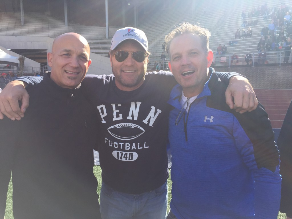 Rick Cohen C'87, a filmmaker once profiled in the Gazette, poses with former teammates Rich Comizio, left, and Chris Flynn (courtesy of Rick Cohen).