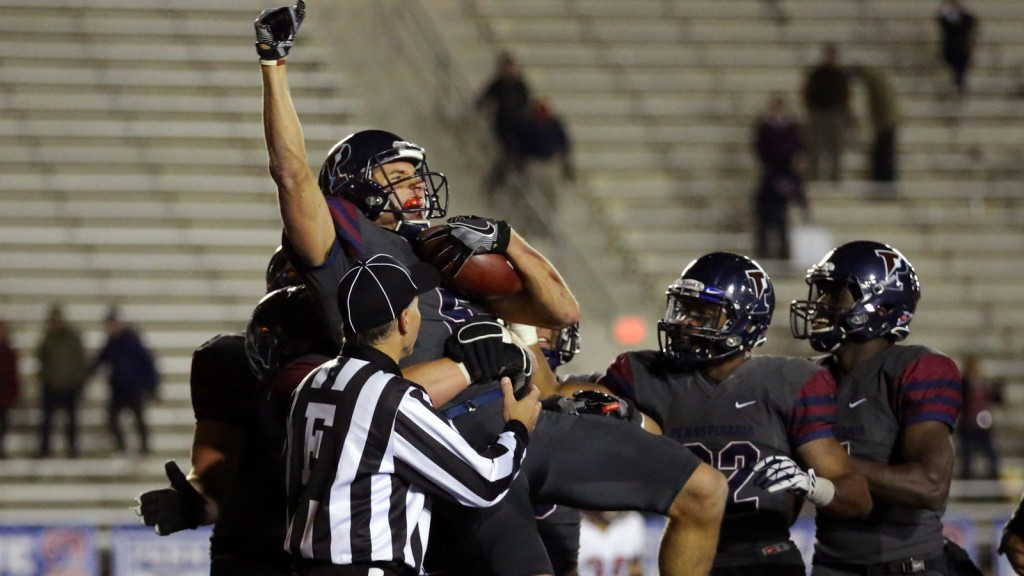 Justin Watson catches the winning pass vs. Harvard (photo by Hunter Martin/Penn Athletics).
