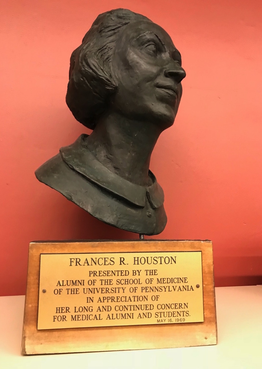 This bust of Frances Houston now sits in the Biomedical Library at 3610 Hamilton Walk. (Click to enlarge.)