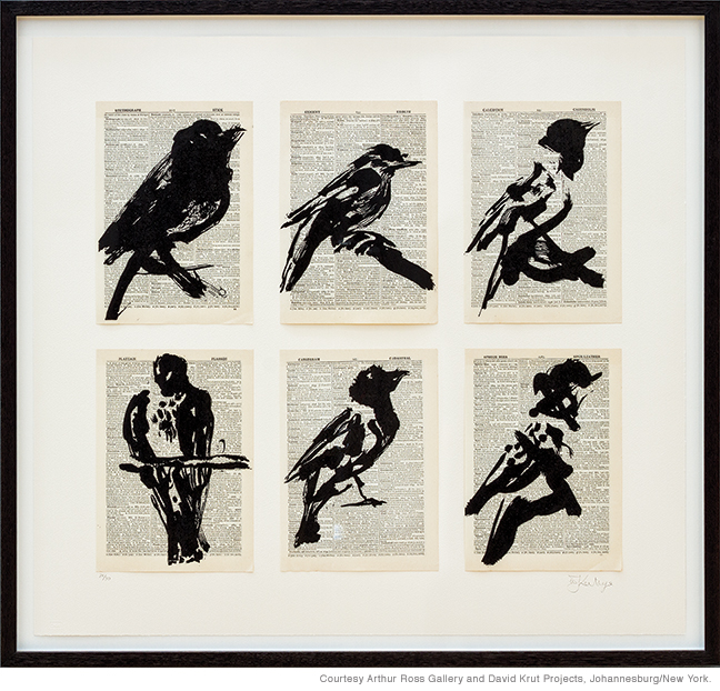 William Kentridge, Universal Archive (Six Birds) 2012, linocut printed on page from the Shorter Oxford English Dictionary. Courtesy Arthur Ross Gallery and David Krut Projects, Johannesburg/New York.
