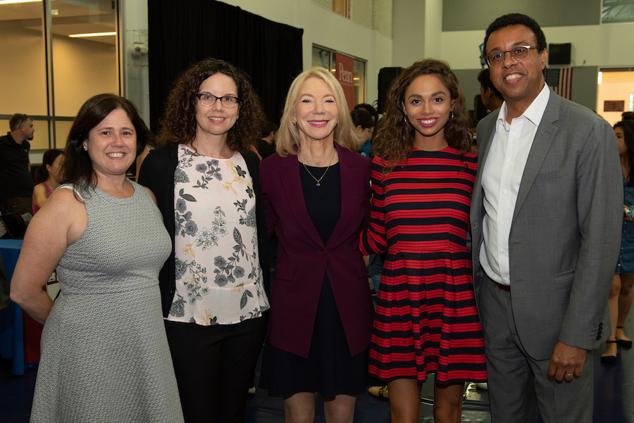 Meredith Wooten poses with Amy Gutmann, Wendell Pritchett and two other women.