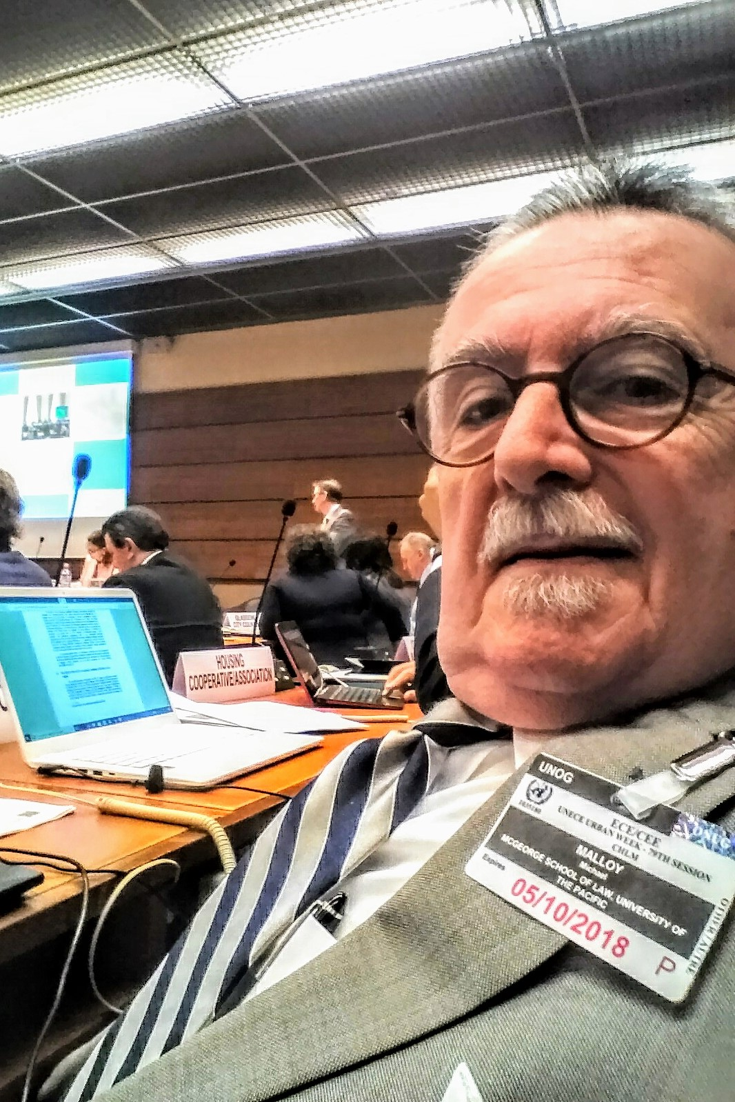 Michael Malloy takes a selfie at the UN