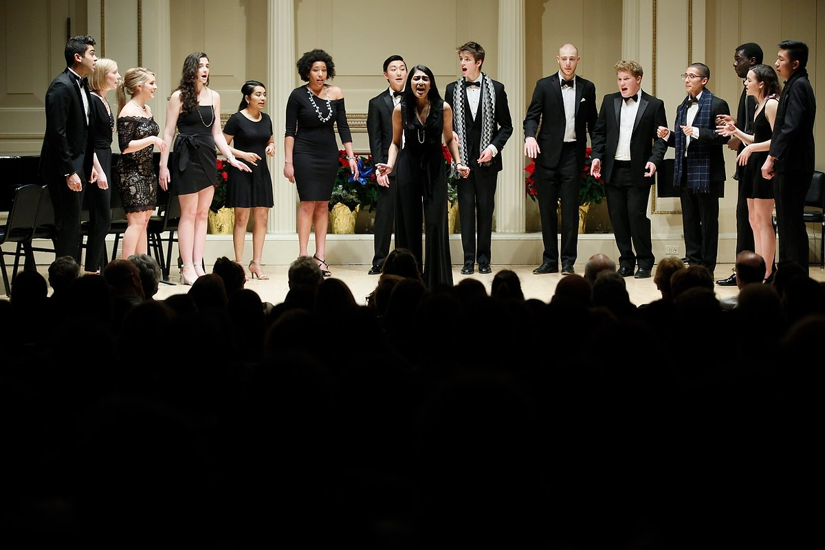 "Counterparts on stage at Carnegie Hall in ""A Very Quaker Holiday."""