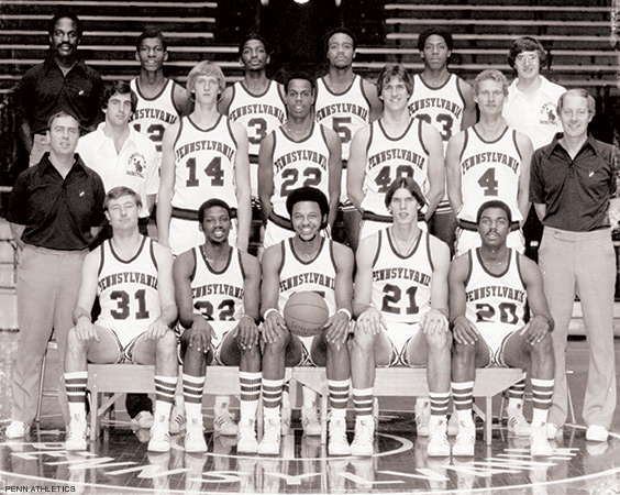 """First row, from left to right: seniors Ed Kuhl, Bobby Willis, Tony Price, Matt White, Tim Smith. Sec-ond row: Head coach Bob Weinhauer, manager Kevin O'Brien, Tom Condon, Vincent Ross, Tom Leif-sen, Ted Flick, assistant coach Bob Staak. Third row: Assistant coach Dennis Jackson, Angelo Rey-nolds, James """"Booney"""" Salters, David Jackson, Ken Hall, manager Peter Bagatta. Photo courtesy Penn Athletics."""