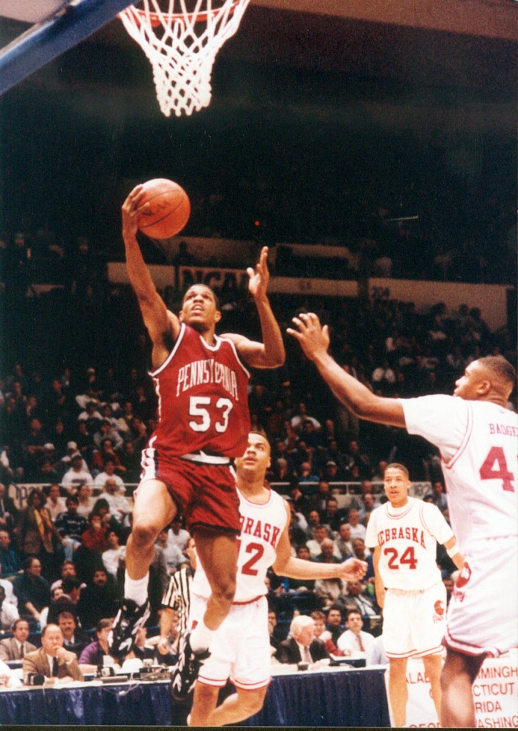 Jerome Allen goes to the hoop vs. Nebraska (courtesy of Penn Athletics).