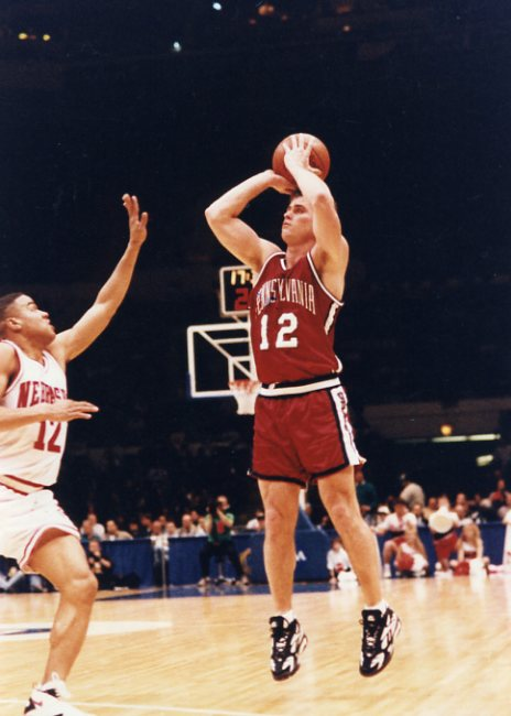 Matt Maloney rises up for a shot vs. Nebraska (courtesy of Penn Athletics).