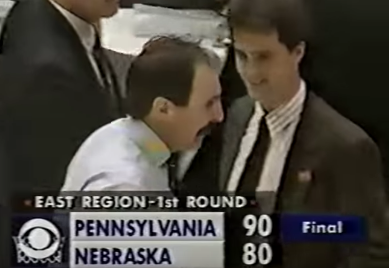 Fran Dunphy with Steve Donahue after the win (YouTube screenshot).