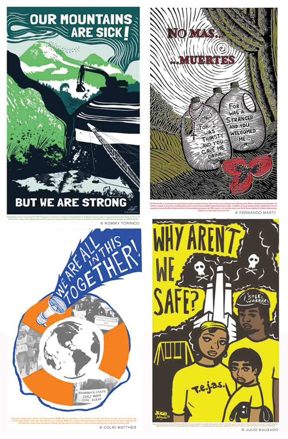 Image of four activist art posters available from justseeds.org