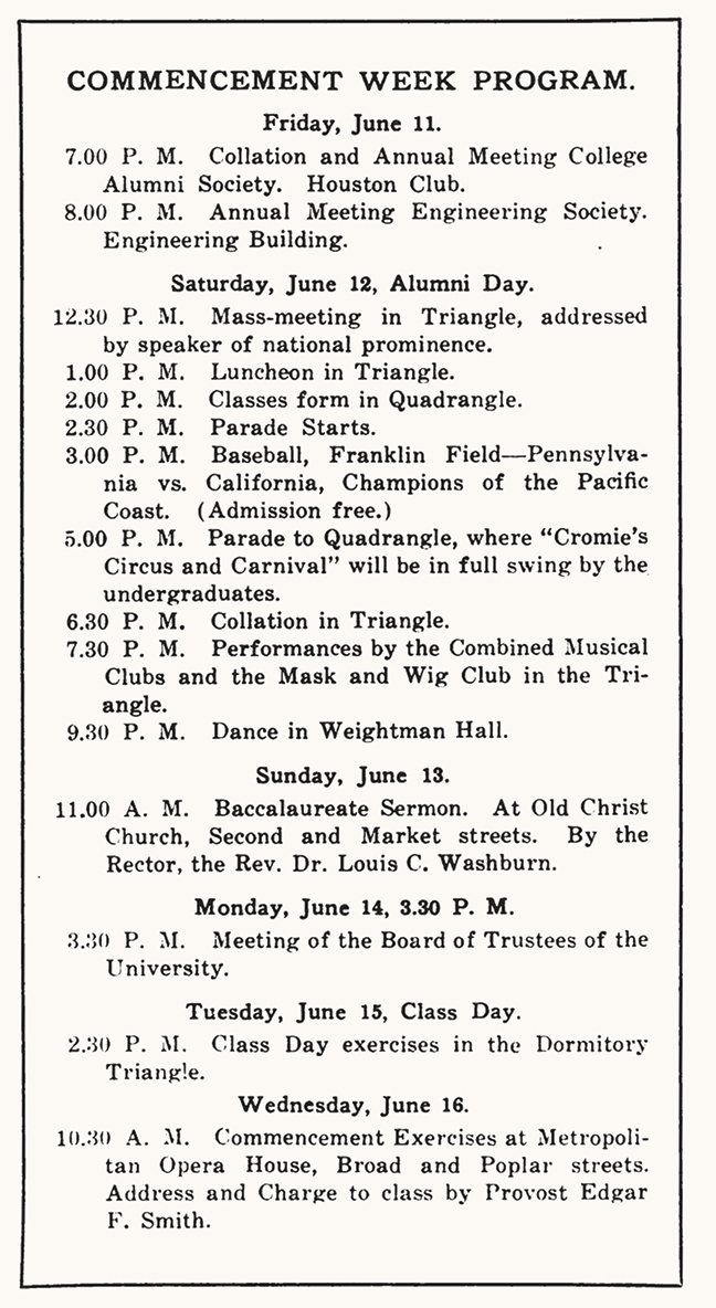 Reproduction of Commencement Week Program from 1920.