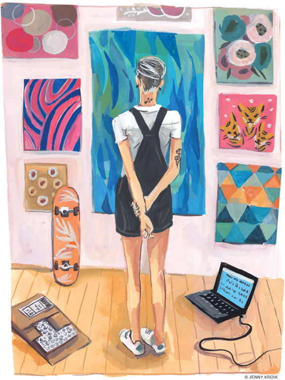 Illustration of woman viewing collection of paintings on her wall.