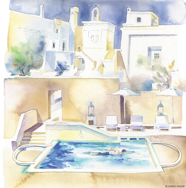 Illustration of villas and pool in Puglia