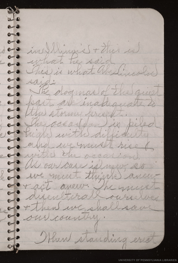 A page from one of Marian Anderson's notebooks