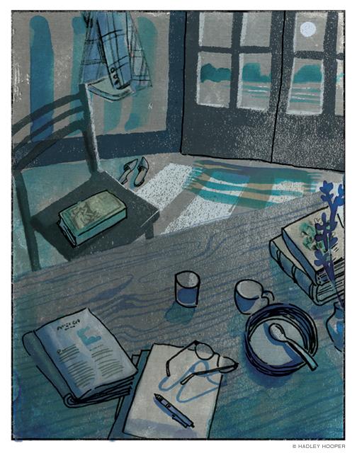 Illustration of darkening interior, by Hadley Hooper