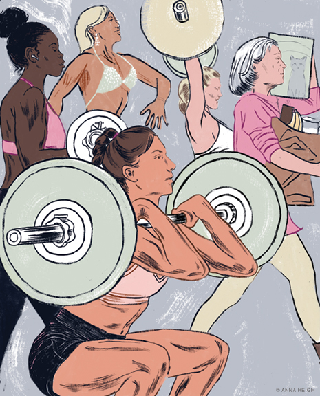 Illustration of women lifting weights