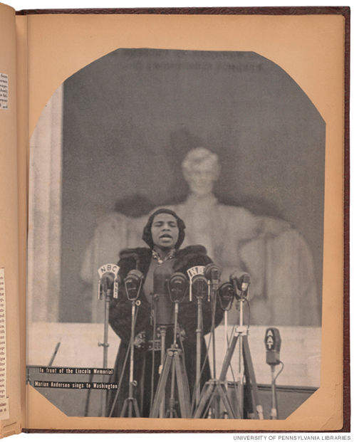 Page from a 1944 scrapbook, with photo of Marian Anderson singing at the Lincoln Memorial.
