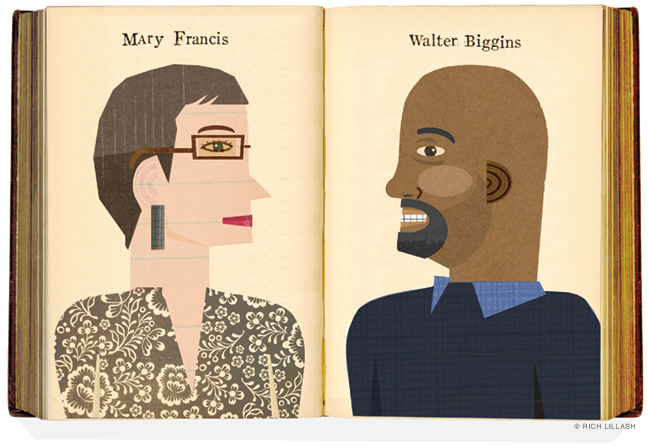 Illustrated portraits of Mary Francis and Walter Biggins